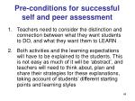 pre conditions for successful self and peer assessment