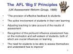 the afl big 5 principles uk assessment reform group 1999