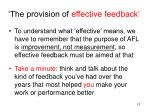 the provision of effective feedback
