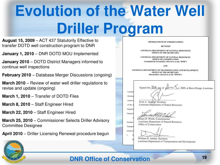 Evolution of the Water Well Driller Program