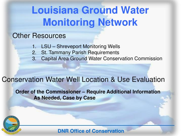 Louisiana Ground Water Monitoring Network