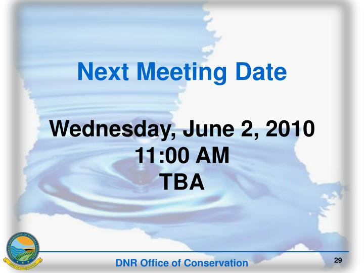 Next Meeting Date