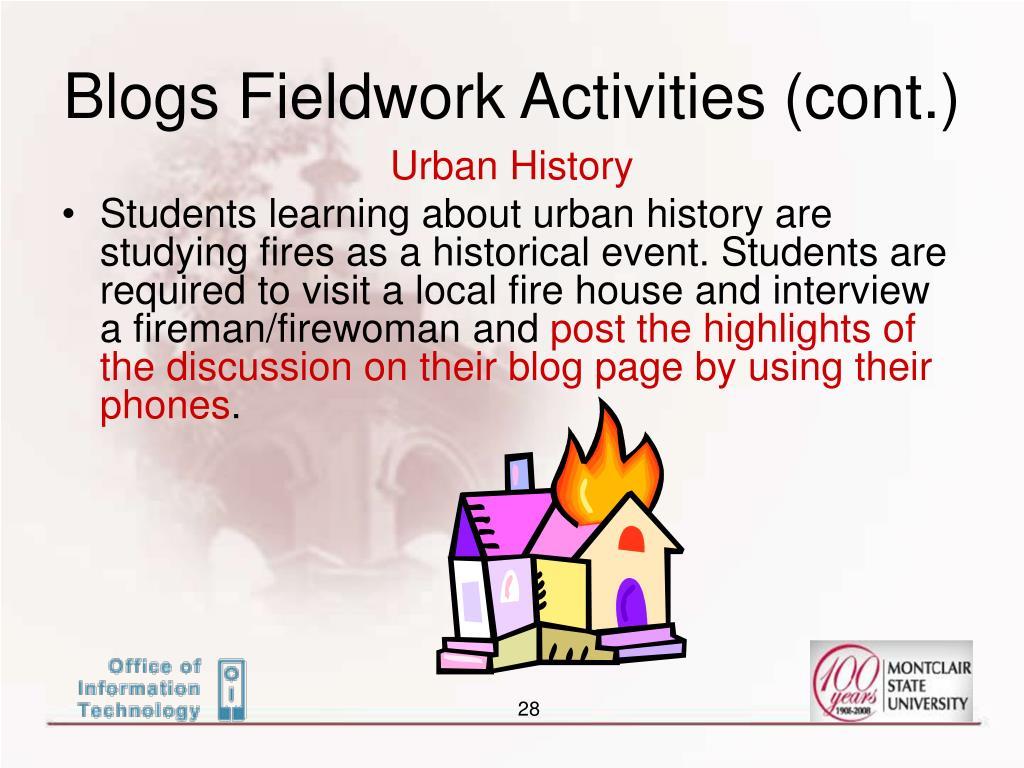 Blogs Fieldwork Activities (cont.)