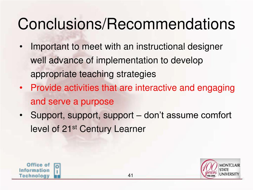 Conclusions/Recommendations