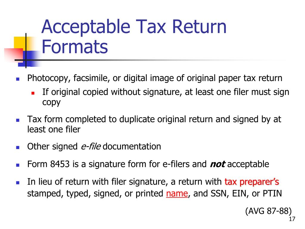 Acceptable Tax Return Formats