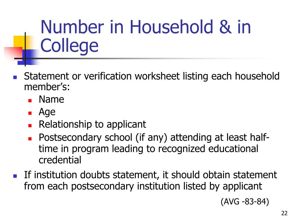 Number in Household & in College