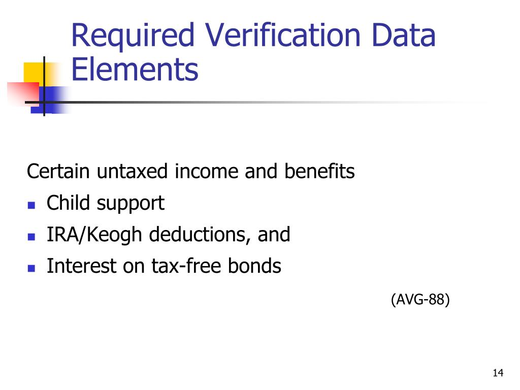 Required Verification Data Elements