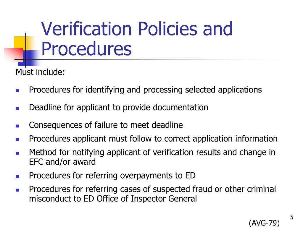 Verification Policies and Procedures