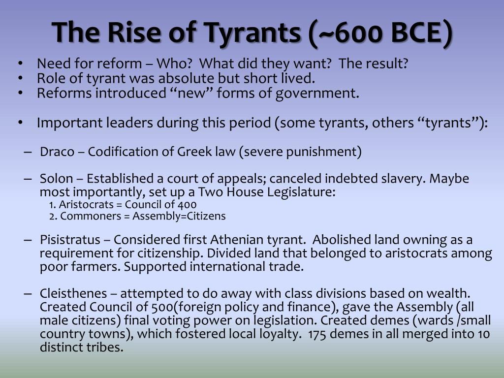 The Rise of Tyrants
