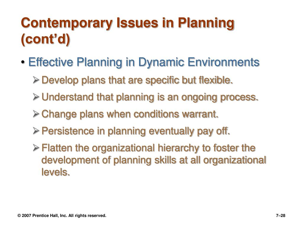 Contemporary Issues in Planning (cont'd)
