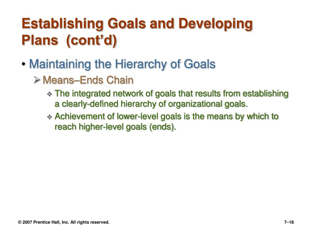Establishing Goals and Developing Plans  (cont'd)