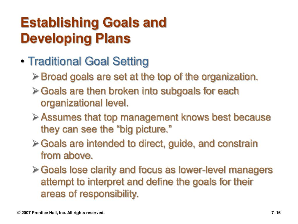 Establishing Goals and Developing Plans