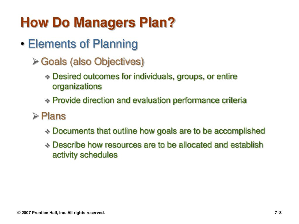 How Do Managers Plan?