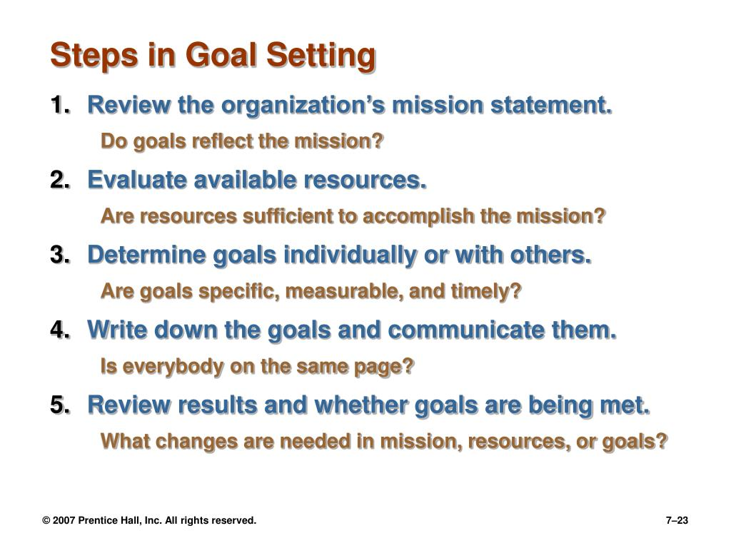 Steps in Goal Setting
