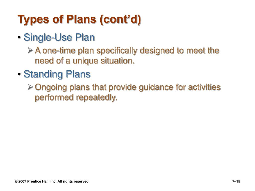 Types of Plans (cont'd)