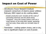 impact on cost of power