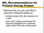 nh 3 recommendations for palomar energy project