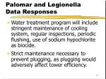 palomar and legionella data responses
