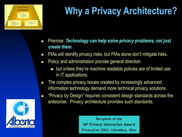 Why a privacy architecture