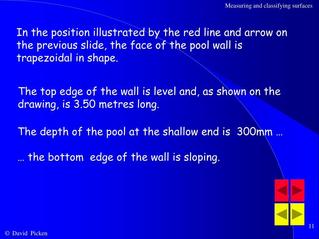 In the position illustrated by the red line and arrow on the previous slide, the face of the pool wall is trapezoidal in shape.