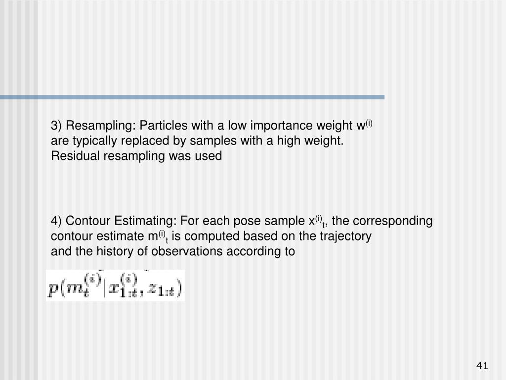 3) Resampling: Particles with a low importance weight w