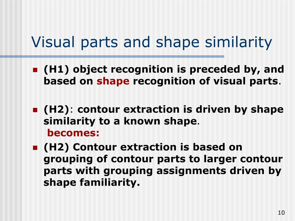 Visual parts and shape similarity