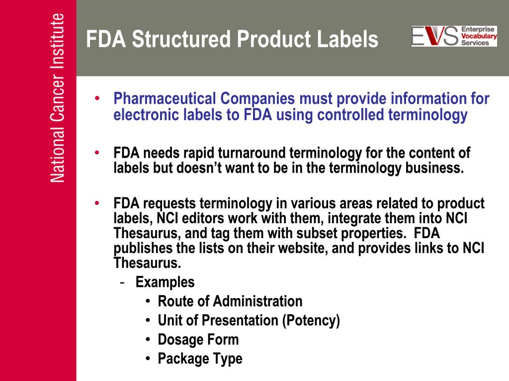 FDA Structured Product Labels