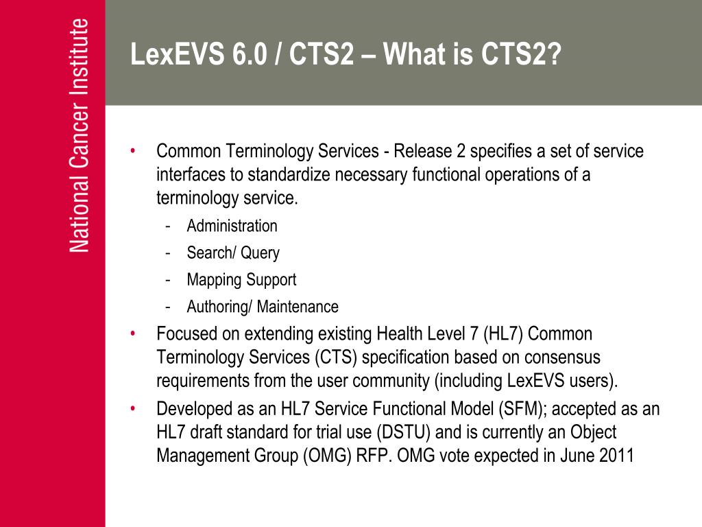 LexEVS 6.0 / CTS2 – What is CTS2?