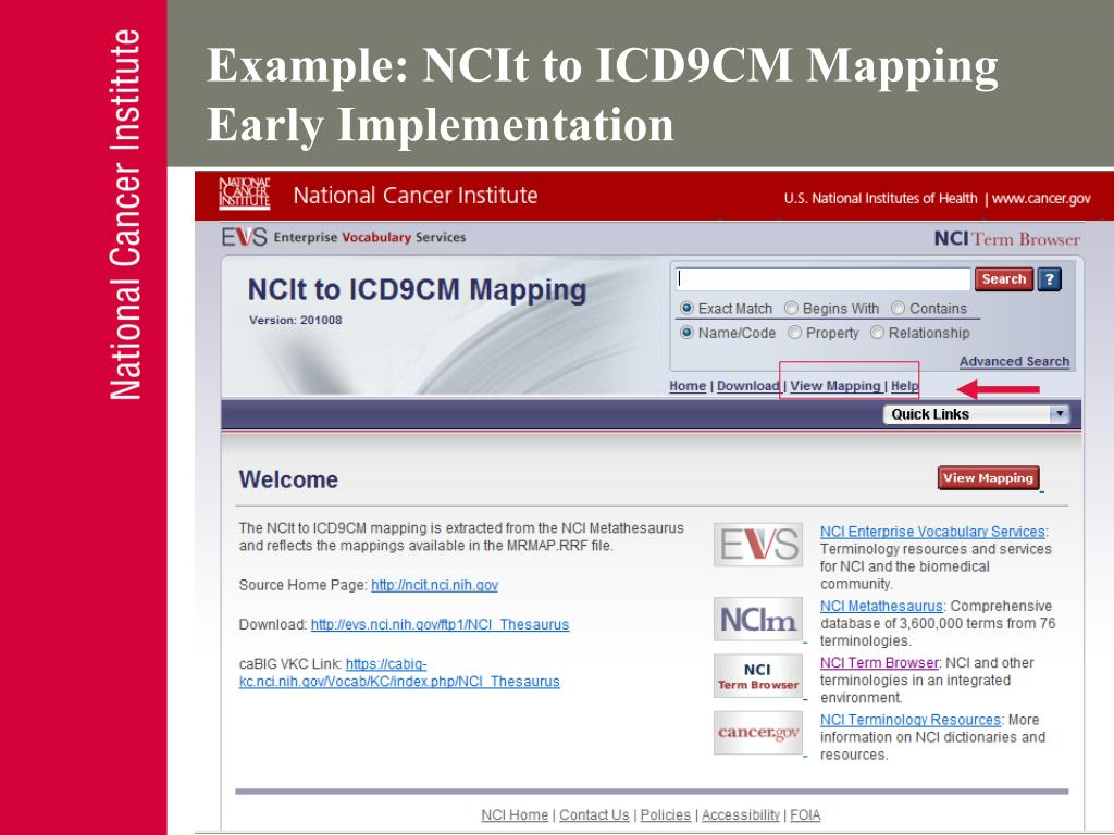 Example: NCIt to ICD9CM Mapping