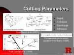 cutting parameters