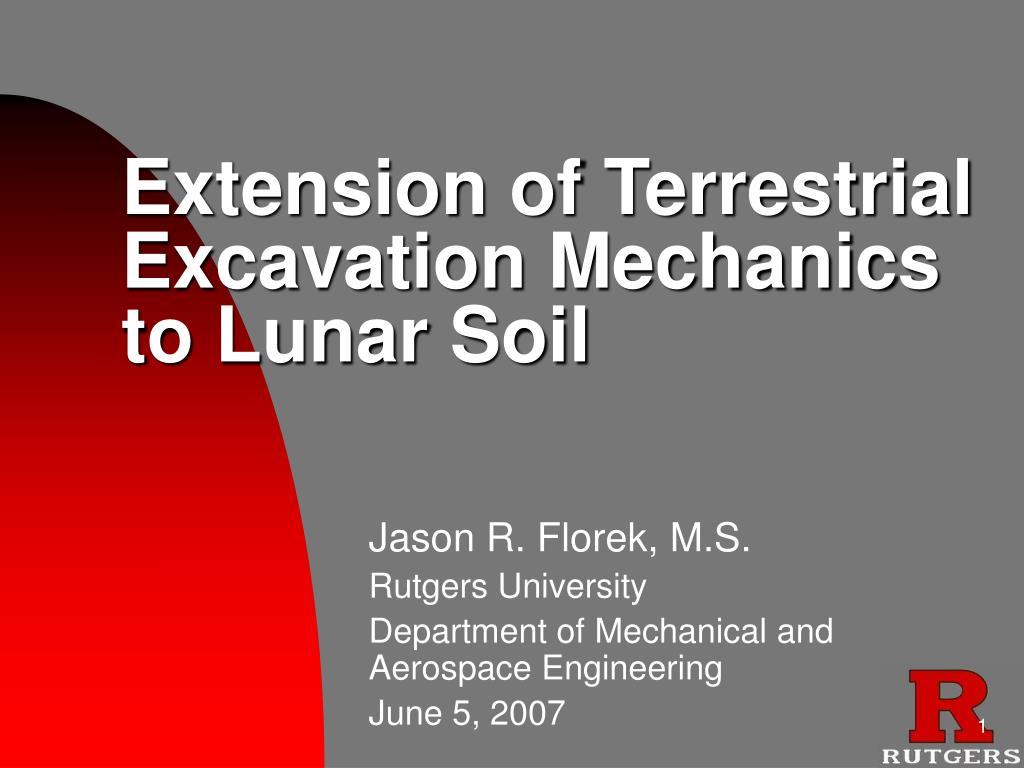 extension of terrestrial excavation mechanics to lunar soil