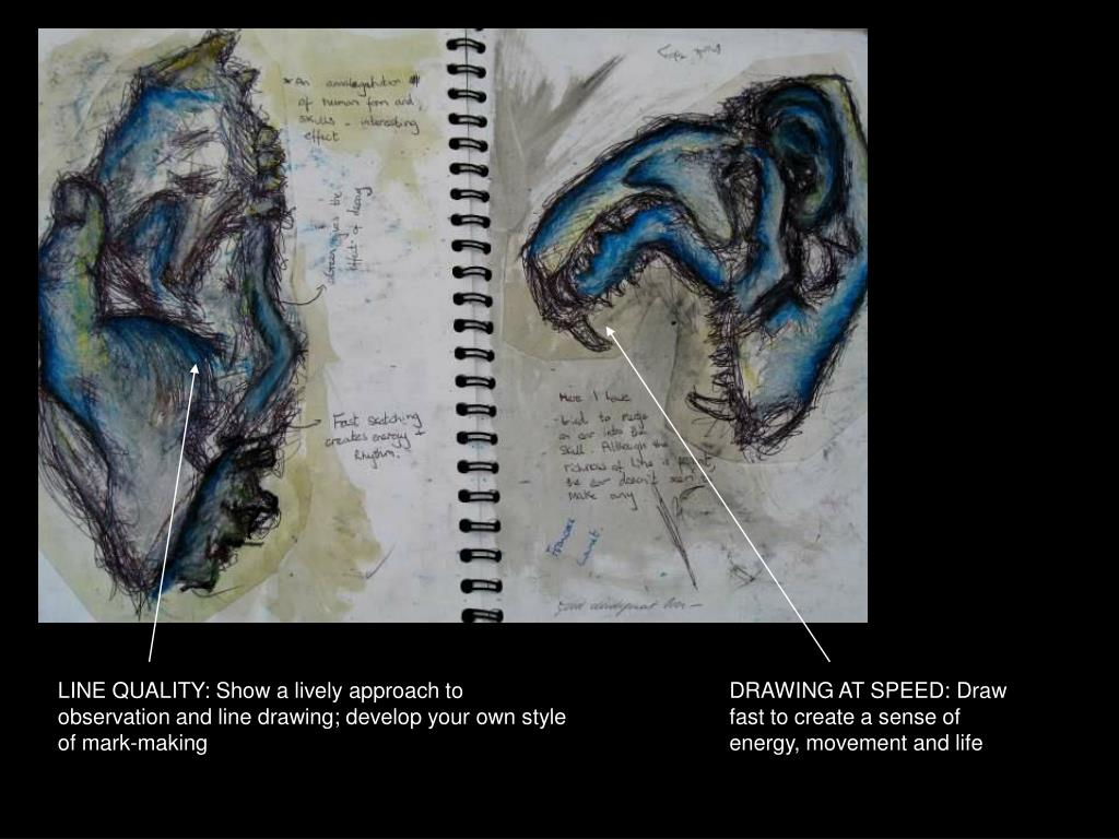 LINE QUALITY: Show a lively approach to observation and line drawing; develop your own style of mark-making