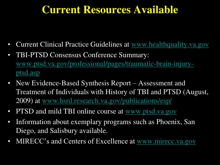 Current Resources Available