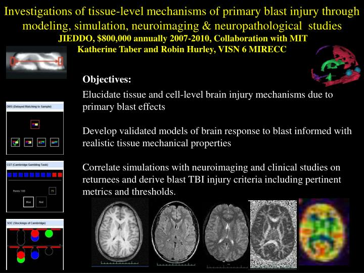 Investigations of tissue-level mechanisms of primary blast injury through modeling, simulation, neuroimaging & neuropathological  studies