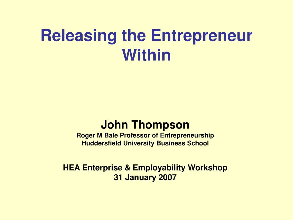 releasing the entrepreneur within l.