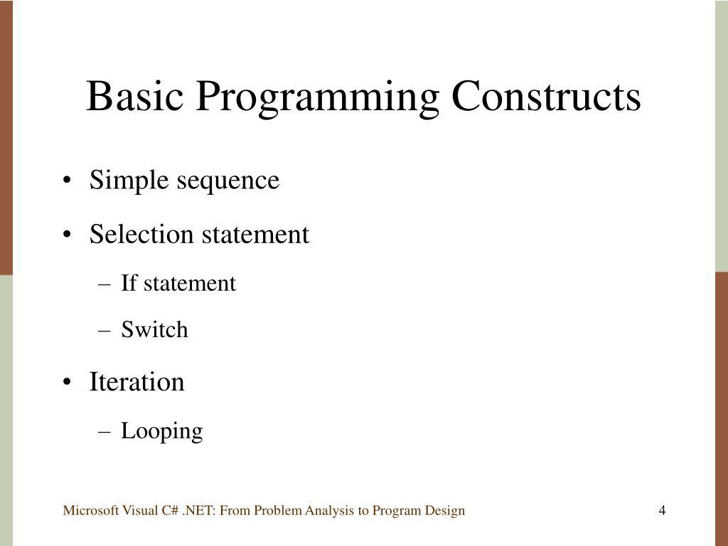 Basic Programming Constructs