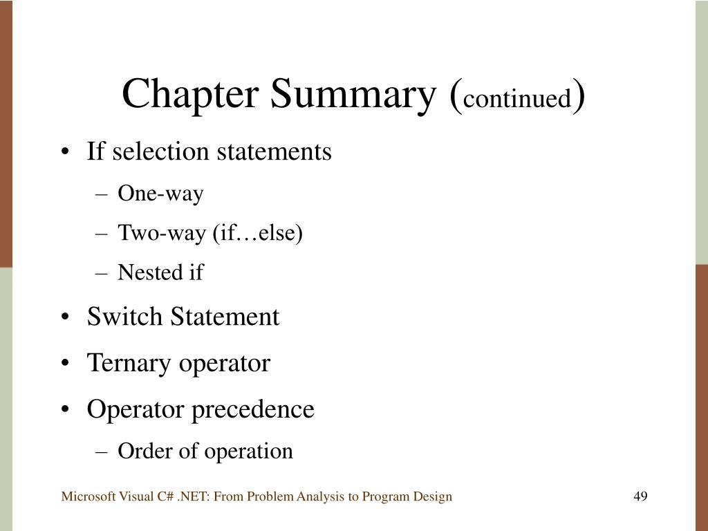 Chapter Summary (