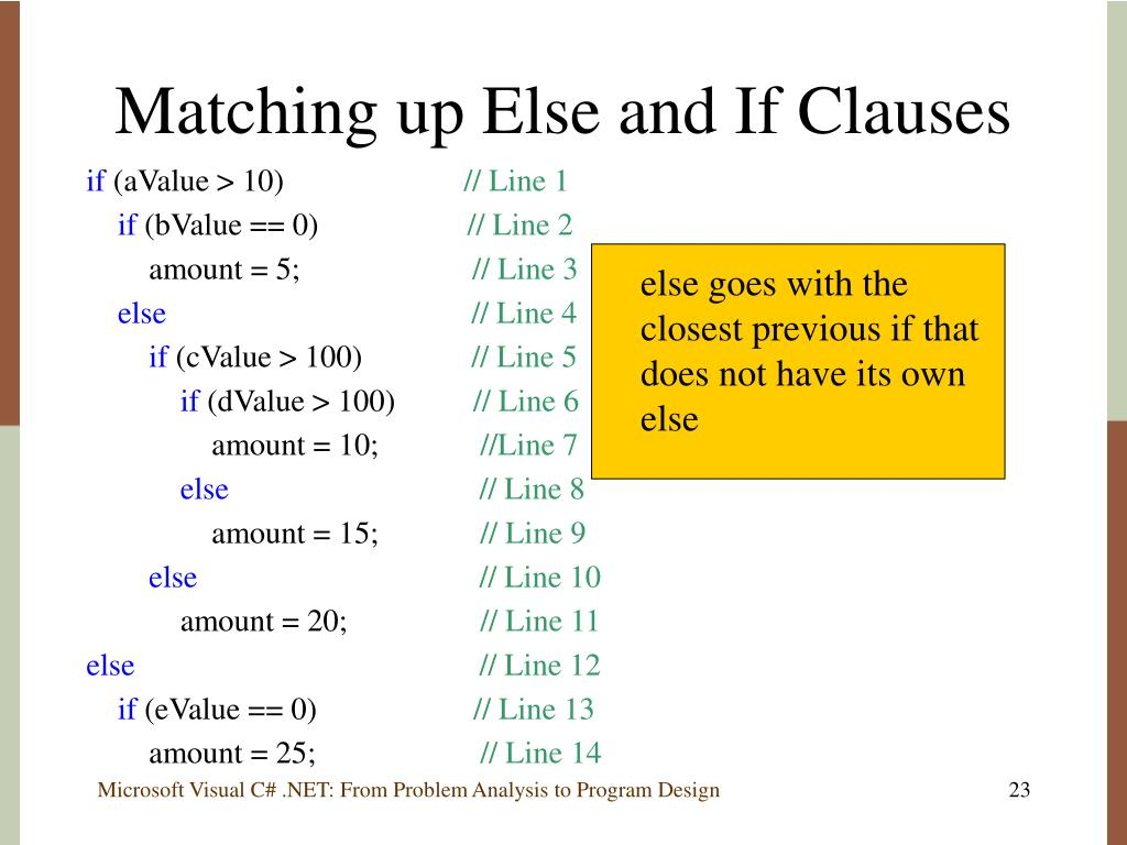 Matching up Else and If Clauses
