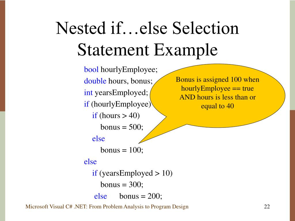 Nested if…else Selection Statement Example