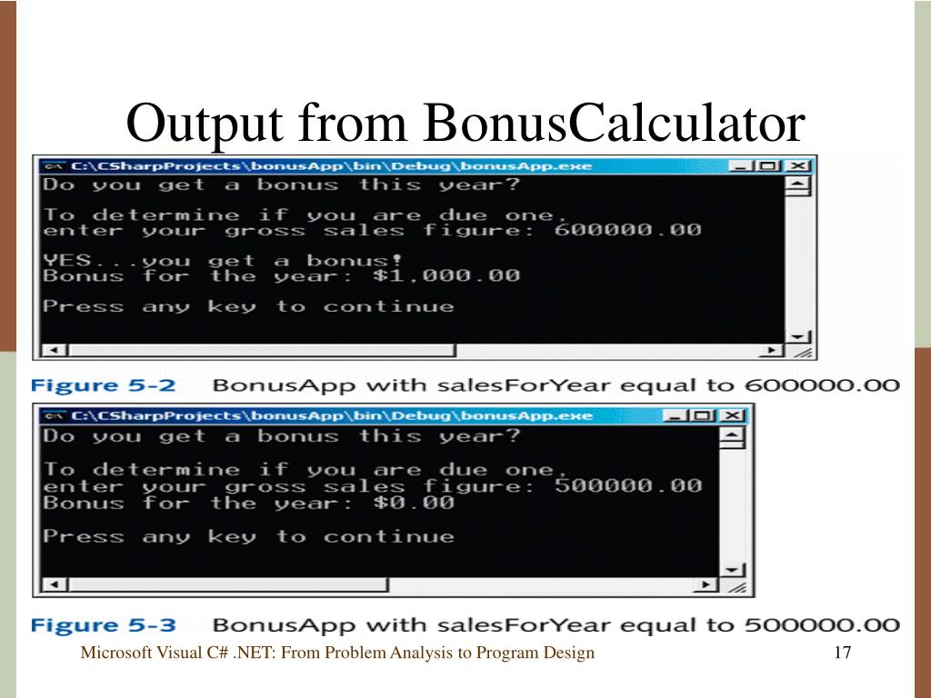 Output from BonusCalculator
