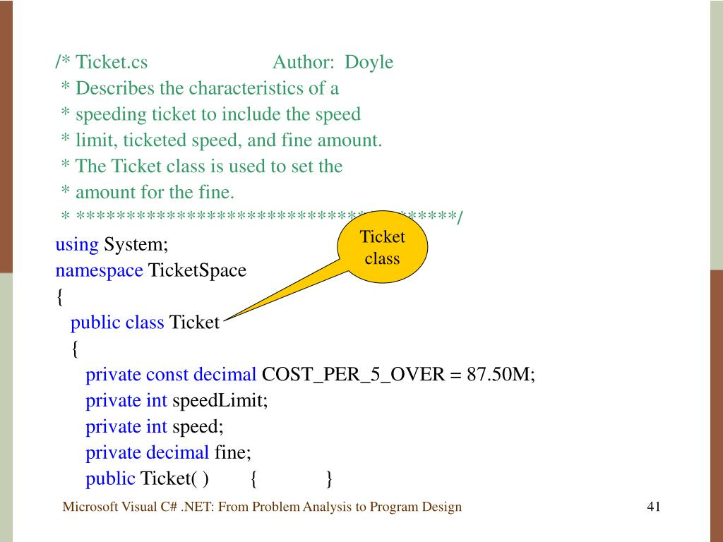 /* Ticket.csAuthor:Doyle