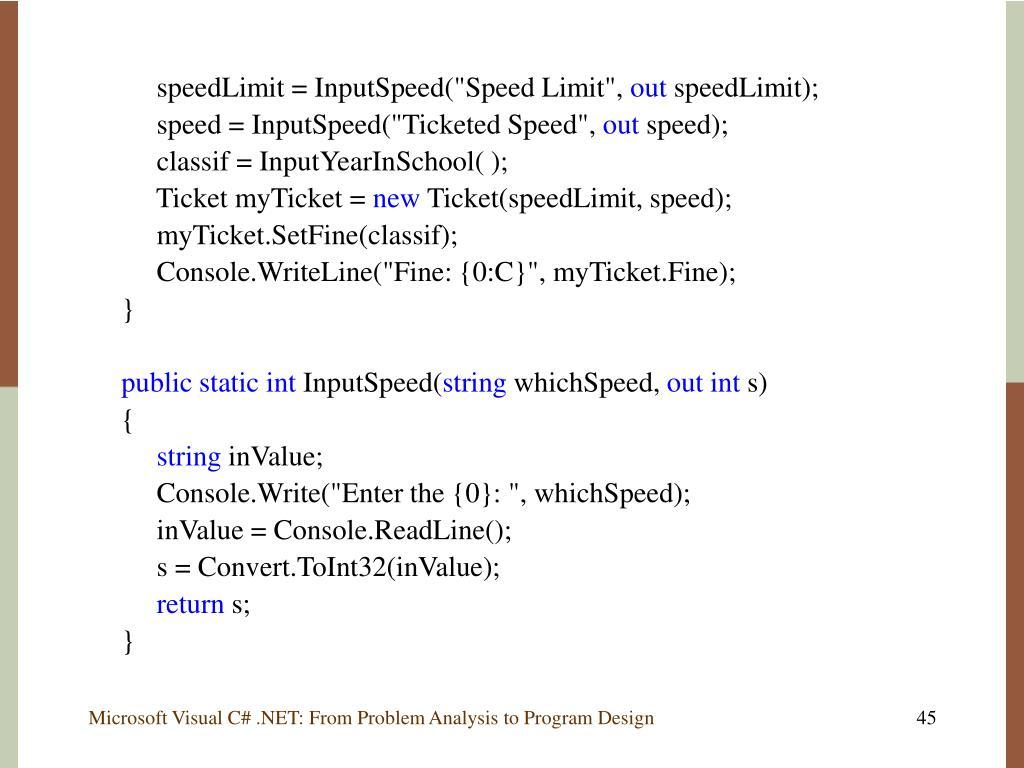 "speedLimit = InputSpeed(""Speed Limit"","