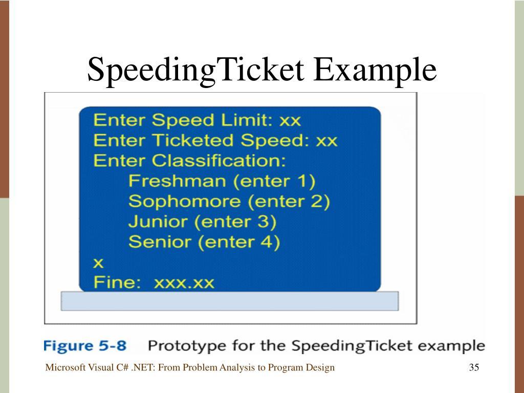 SpeedingTicket Example