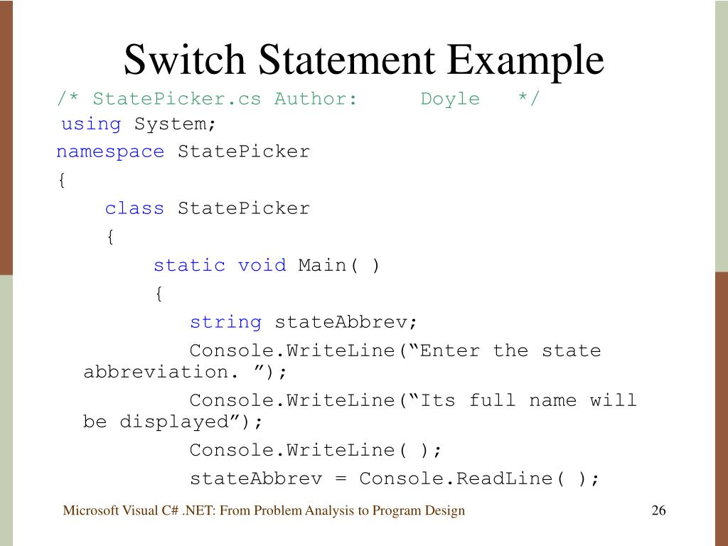 Switch Statement Example