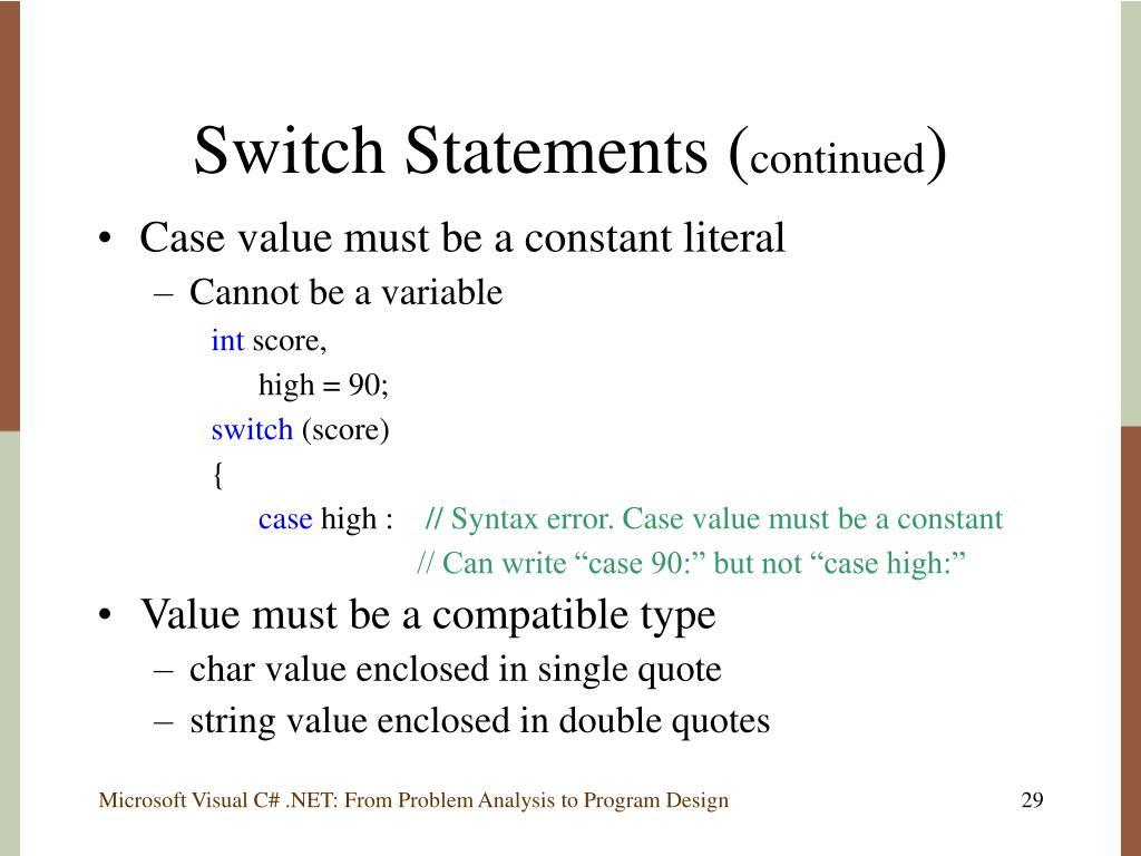 Switch Statements (