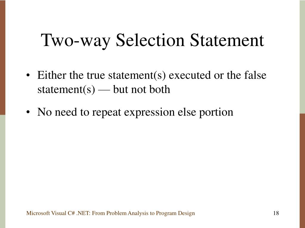 Two-way Selection Statement