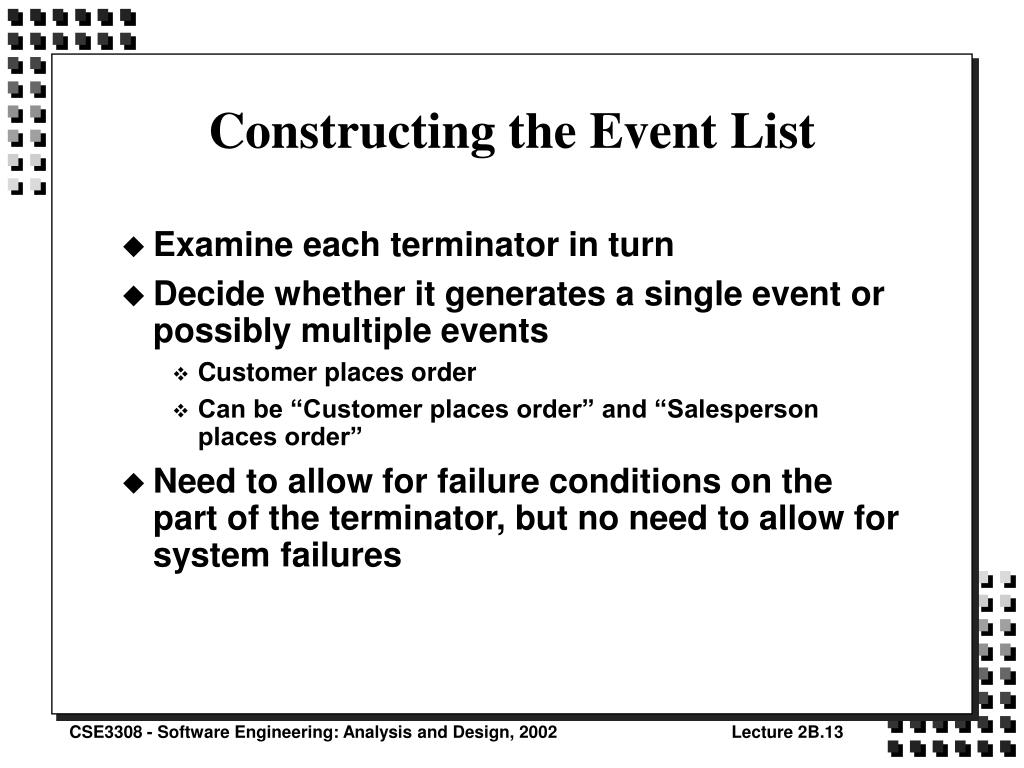 Constructing the Event List
