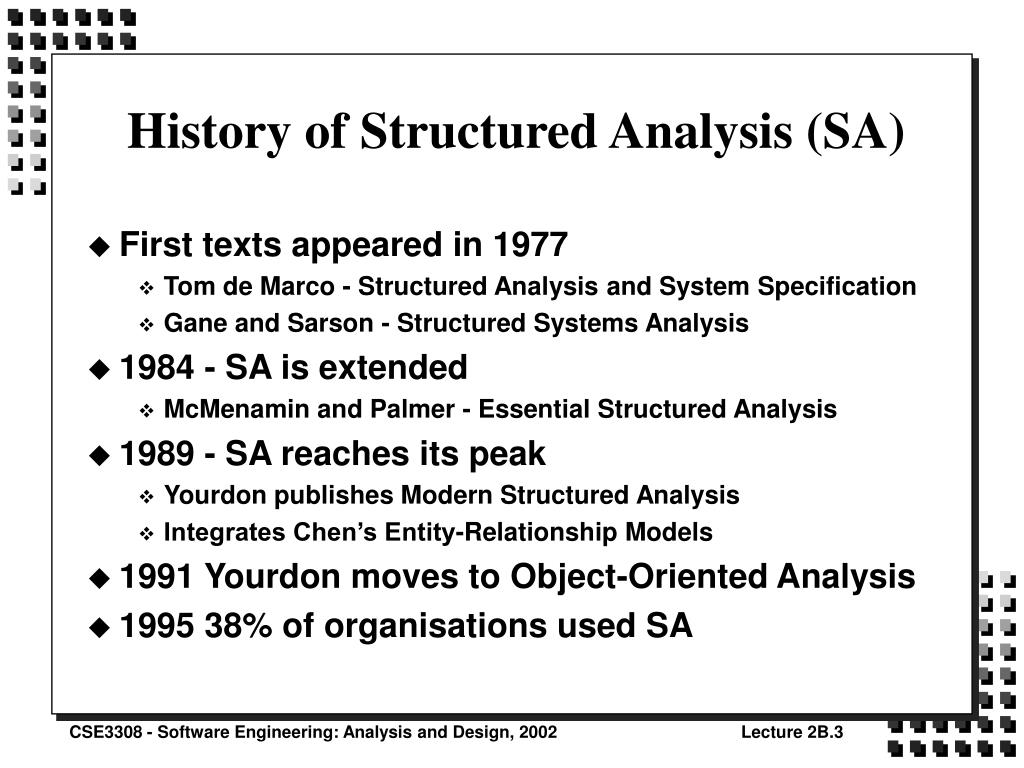 History of Structured Analysis (SA)