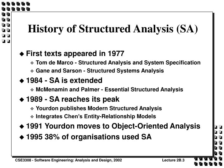 History of structured analysis sa