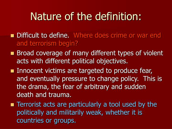 Nature of the definition: